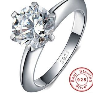 925 Sterling Silver Solitaire 1.5ct. Zirconia Ring